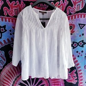 NWT Fever Embroidered White Blouse